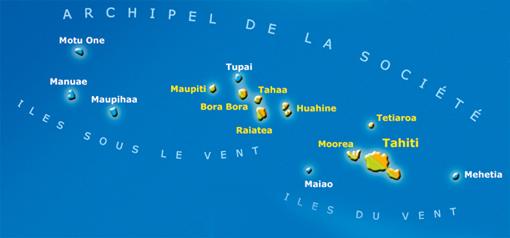 carte des îles de la Société